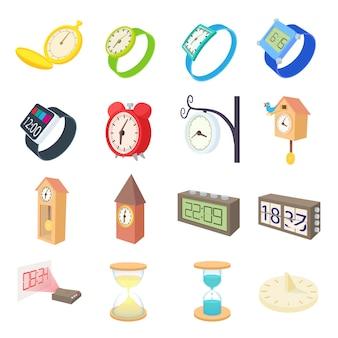 Klok en horloge pictogrammen instellen in cartoon stijl vector