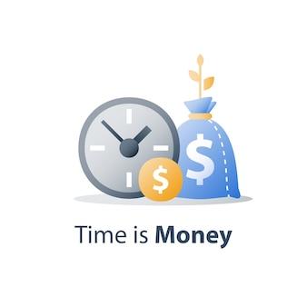 Klok en tas, tijd is geld, snelle lening, snel krediet, betalingsperiode, spaarrekening, financieel voordeel, pictogram