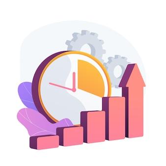 Klok en toenemende grafiek. workflowproductiviteitsverhoging, optimalisatie van werkprestaties, efficiëntie-indicator. stijgende effectiviteitsstatistieken. vector geïsoleerde concept metafoor illustratie