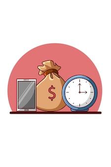 Klok, geld en handtelefoon voor zakelijke cartoonillustratie