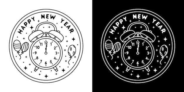 Klok gelukkig nieuwjaar monoline design