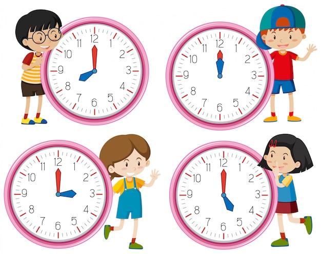Klok met kinderen karakter