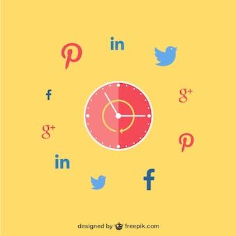 Klok met sociale netwerken pictogrammen