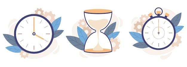 Klok, zandloper en stopwatch. analoge horlogeklokken, countdown timer en tijdbeheer illustratie set
