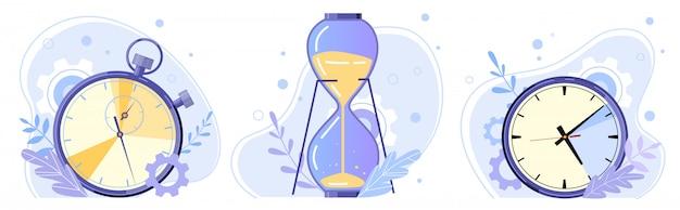 Klok, zandloper en stopwatch. bekijk uren, timer aftellen en zandloper vlakke afbeelding instellen. time management concept. tijd- en sportwaarnemers. bekijk soorten collectie