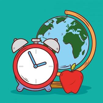 Klokalarm met schoolbenodigdheden voor appel en wereldplaneet