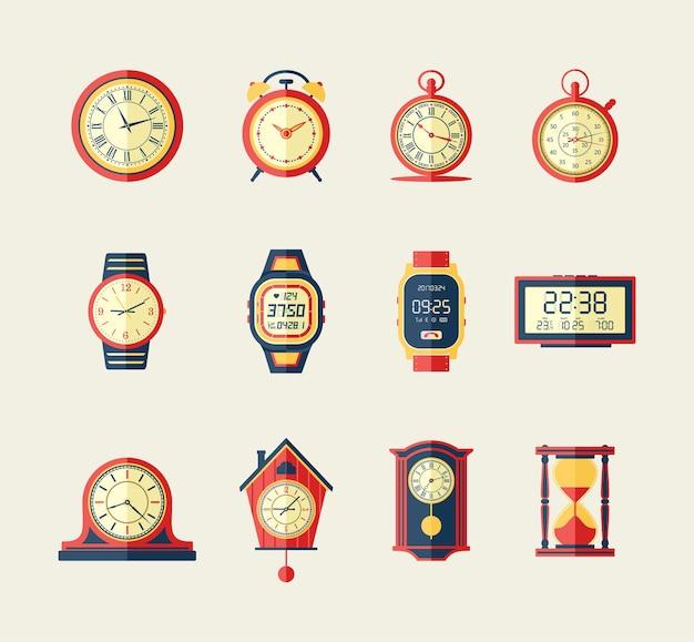 Klokken en horloges - moderne vector platte ontwerp iconen set. oud, nieuw, digitaal, zand, vintage, analoog, sport, stopwatch, alarm, koekoek. ken je exacte tijd, maak er een presentatie over.