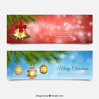 Klokken en kerstballen banners