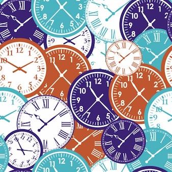 Klokken naadloze patroon textuur van de kleur van de tijd