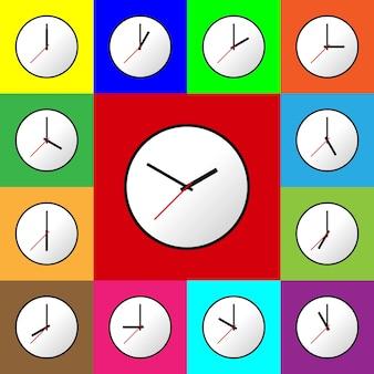 Klokpictogram instellen vector illustratie plat ontwerp gemakkelijk te gebruiken en te bewerken eps10 meerkleurige achtergrond