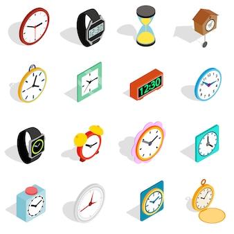 Klokpictogrammen die in isometrische 3d stijl worden geplaatst. tijd ingesteld collectie vectorillustratie