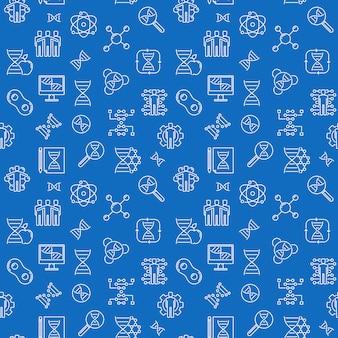 Klonen lijn naadloos patroon met blauwe achtergrond