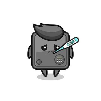 Kluismascottekarakter met koortsvoorwaarde, leuk stijlontwerp voor t-shirt, sticker, logo-element