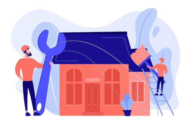 Klusjesman met grote moersleutel huis repareren en schilderen met penseel. diy-reparatie, doe-het-zelf-service, zelfbedieningsleerconcept