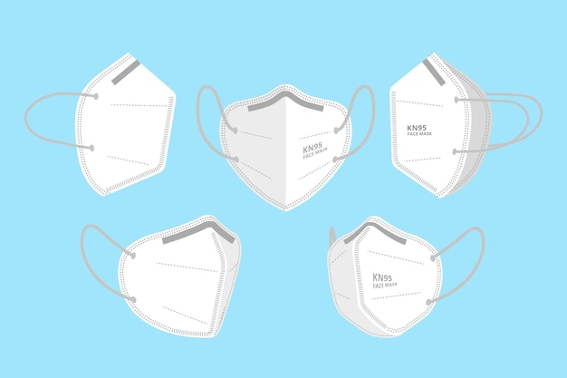 Kn95 gezichtsmasker in verschillende perspectieven