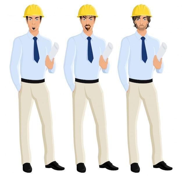 Knappe aantrekkelijke mannen ingenieurs portret in helm met plan papier geïsoleerde vector illustratie