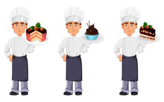 Knappe bakker in professioneel uniform