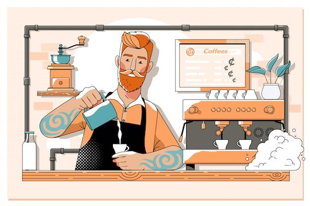 Knappe barista die kop van koffie voor klant in koffiewinkel voorbereiden