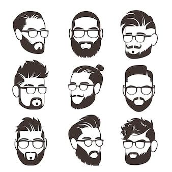 Knappe bebaarde hipster man gezichten met snor en modern mannelijk kapsel