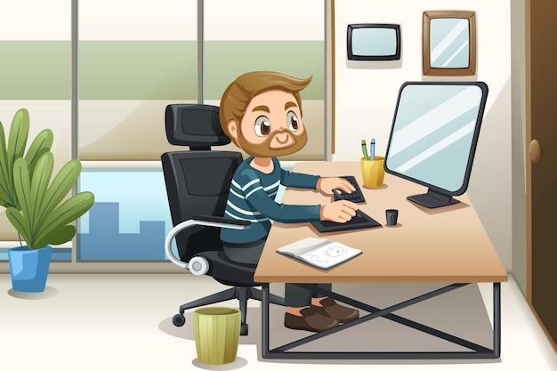 Knappe bebaarde man werkt op een computer thuis in stripfiguur