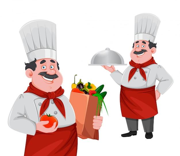 Knappe chef-kok stripfiguur. vrolijke kok