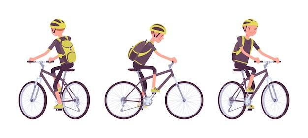 Knappe jonge man rijdt op een sportbike
