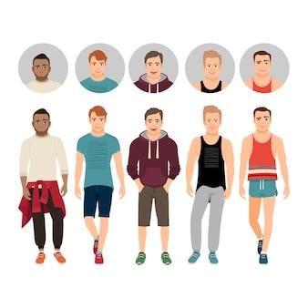 Knappe jongens in casual fitnessstijl