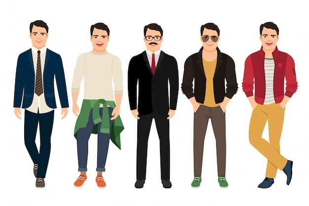 Knappe kerel in casual en zakelijke stijl. jonge man in verschillende mannelijke kleding vectorillustratie