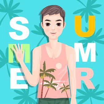 Knappe kerelgroet in de zomer