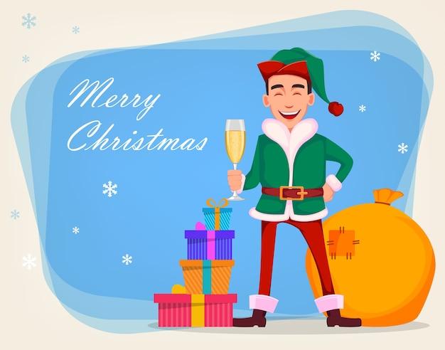 Knappe kerstman helper elf