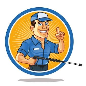 Knappe klusjesman met spray cartoon mascotte logo