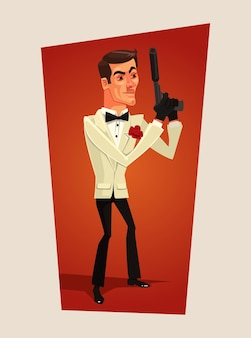 Knappe lachende geheim agent spion man karakter platte cartoon afbeelding