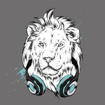 Knappe leeuw hipster in koptelefoon