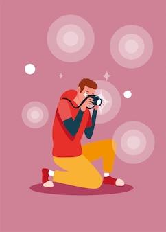 Knappe man die een foto neemt