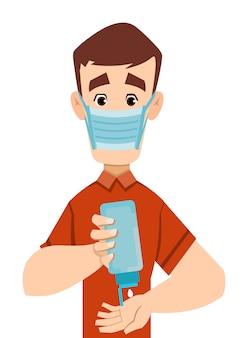 Knappe man dragen masker en ontsmettende handen met ontsmettingsmiddel gel