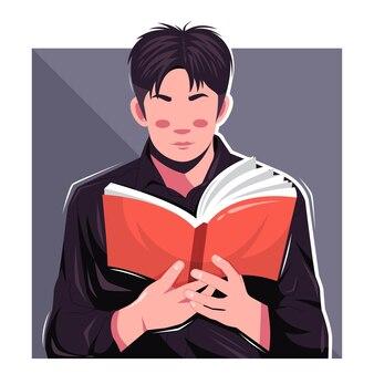 Knappe man leest een boek platte vectorillustratie
