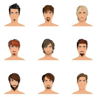 Knappe man mannelijke avatars ingesteld met kapsel stijlen geïsoleerde vector illustratie
