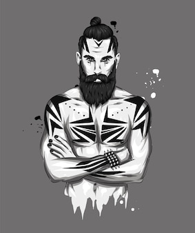 Knappe man met een baard, tatoeage en stijlvol kapsel.