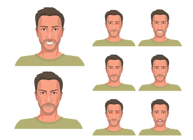 Knappe man met verschillende gezichtsuitdrukkingen ingesteld.
