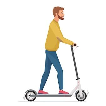 Knappe man op elektrische scooter