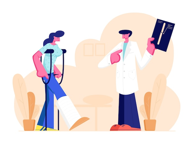 Knappe mannelijke arts luisteren naar mooie vrouwelijke patiënt permanent
