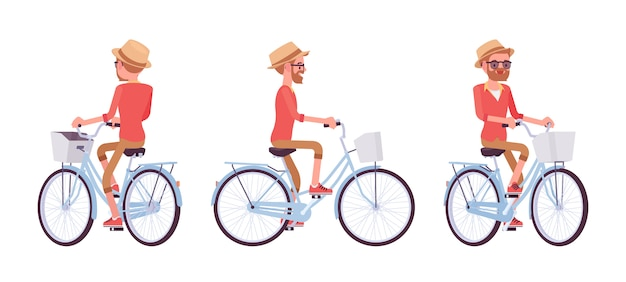 Knappe middelbare leeftijd man fietsen