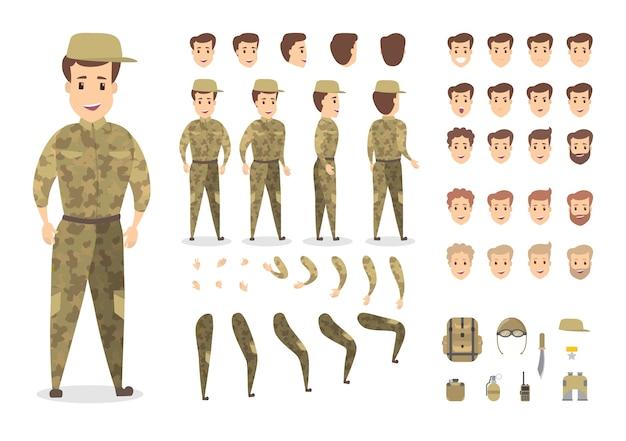 Knappe militaire tekenset voor animatie met verschillende weergaven, kapsels, emoties, poses en gebaren. verschillende apparatuur zoals mes en radio. geïsoleerde vectorillustratie