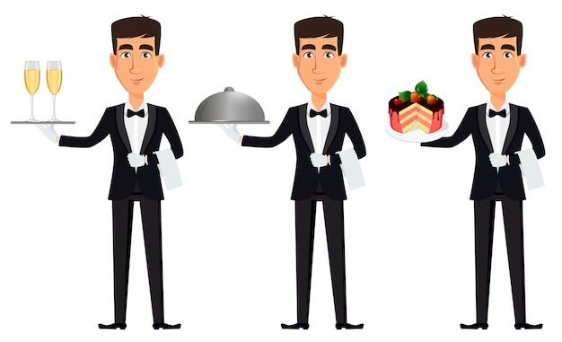 Knappe ober, set van drie poses