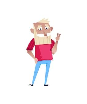 Knappe oudere man staande karakter.