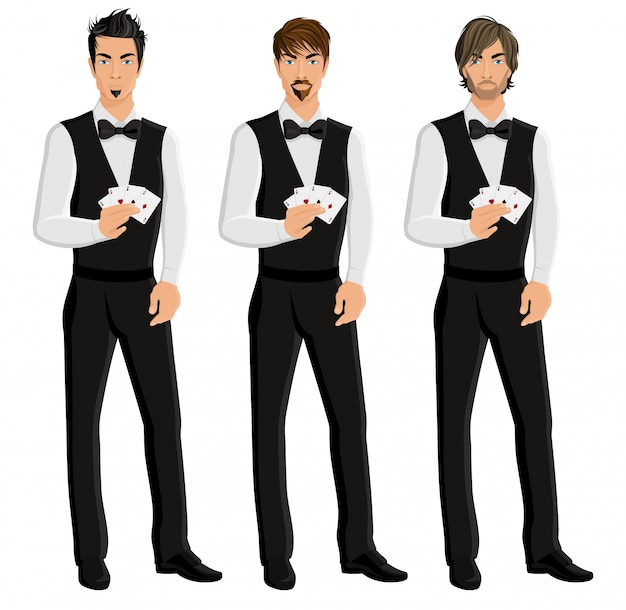 Knappe sexy jonge mannen casino dealers met kaarten portret set geïsoleerde vector illustratie.