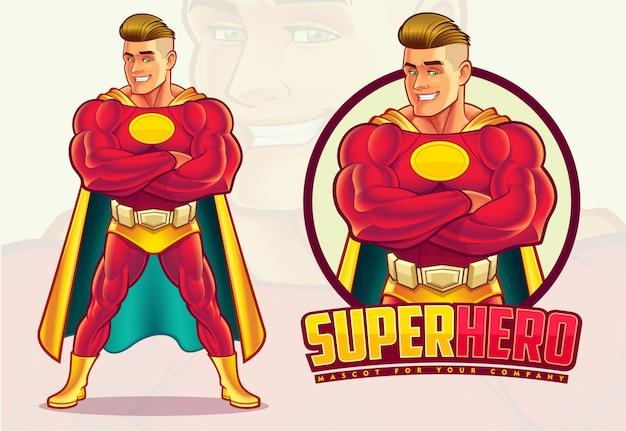 Knappe superheld mascotte