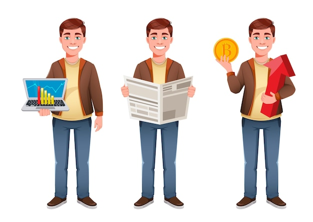 Knappe zakenman cartoon tekenset van drie poses Premium Vector