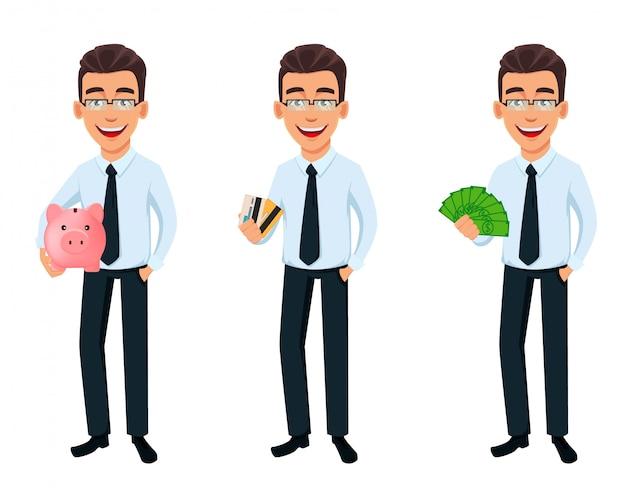 Knappe zakenman in kantoor stijl kleding