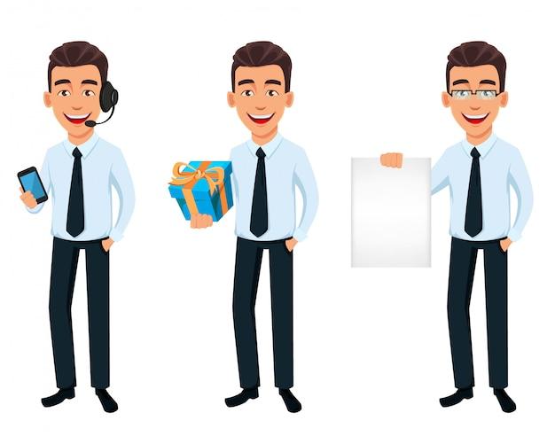 Knappe zakenman in office stijl kleding
